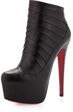 Christian Louboutin Amor Chevron-Pleat Platform Red Sole Bootie