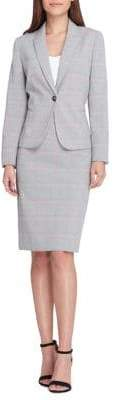 Tahari Arthur S. Levine Plaid Peak Lapel Jacke and Skirt Suit