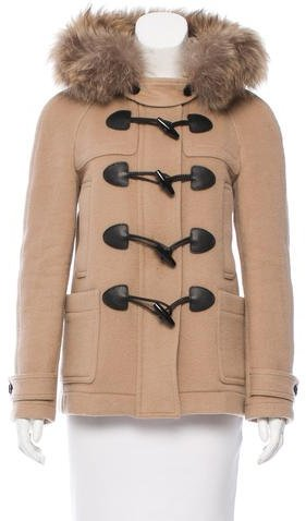 Burberry Brit Fur-Trimmed Wool Coat