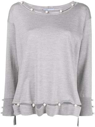 Blumarine pearl embellished fine-knit sweater