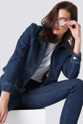 Na Kd Trend Short Denim Jacket Dark Blue