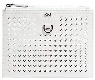 Karen Millen Perforated Pouch Clutch Bag, Silver