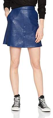 Only Women's Onllisa Faux Leather Short Skirt OTW Blue Depths, (Size: 40)