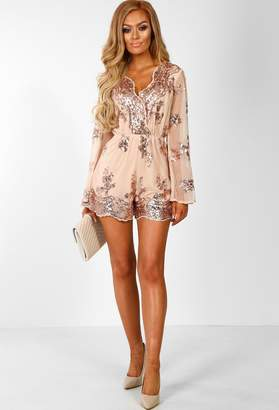 efe04b6692 Pink Boutique Cocktail Lover Nude Sequin Flared Sleeve Playsuit