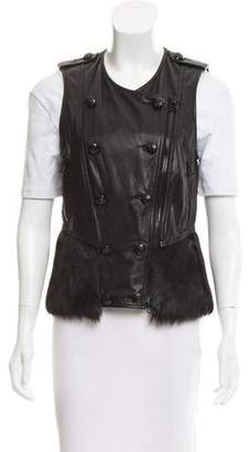 3.1 Phillip Lim Leather Fur-Trimmed Vest