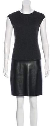 Ralph Lauren Leather-Paneled Cashmere Dress