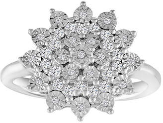 FINE JEWELRY Womens 1/4 CT. T.W. White Diamond Sterling Silver Cluster Ring