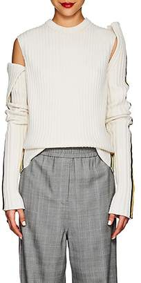 Calvin Klein Women's Rib-Knit Wool-Blend Varsity Sleeves - White Black Yellow