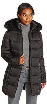 Kenneth Cole Women's Chevron Side Panel Down Coat with Faux Fur-Trim Hood $195 thestylecure.com
