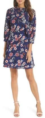 Eliza J Tie Neck Floral Fit & Flare Dress