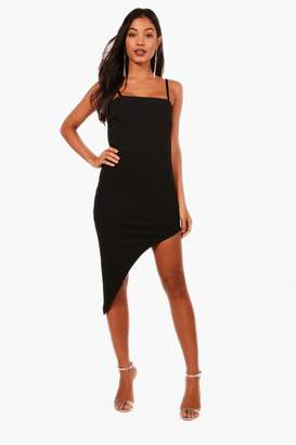 boohoo Strappy Tie Back Asymmetric Midi Dress