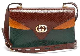 Gucci Gg Python Leather Accordion Shoulder Bag - Womens - Brown Multi