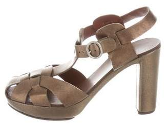 See by Chloe Metallic T-Strap Sandals w/ Tags