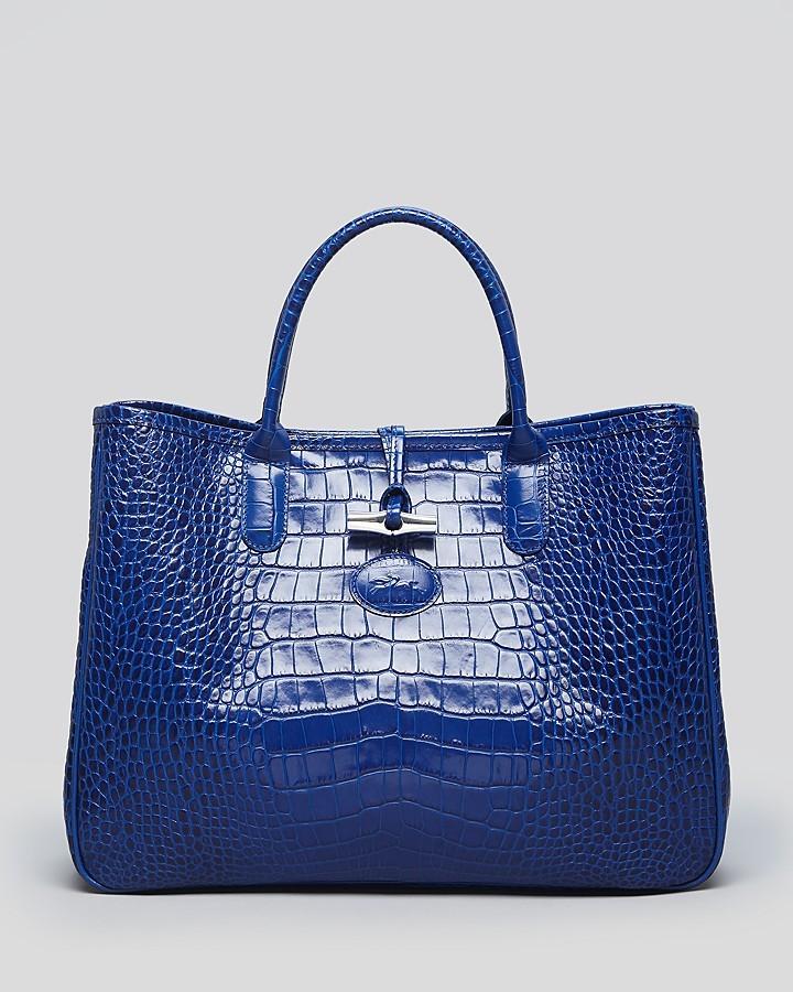 Longchamp Shoulder Bag - Roseau Croc Embossed