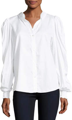 Petersyn Marcus Pouf-Sleeve Button-Front Poplin Top
