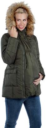 Modern Eternity 3 In 1 Fur Trimmed Hood Mid Thigh Maternity Coat