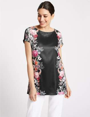 Marks and Spencer Mirror Floral Print Short Sleeve Tunic