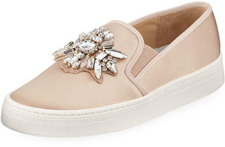 Badgley Mischka Barre Jeweled Satin Slip-On Sneakers