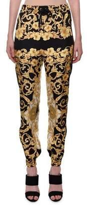 Versace Hibiscus-Print Silk Jogger Pants