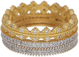 Freida Rothman 14K Gold Vermeil Harlequin Edge CZ Ring Set - Set of 3 - Size 6