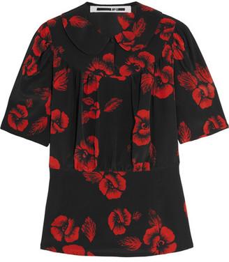 McQ Alexander McQueen - Floral-print Silk Crepe De Chine Blouse - Black $395 thestylecure.com