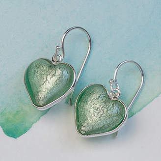 Murano Claudette Worters Glass And Silver Heart Earring