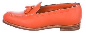Barker Black Leather Tassel Dress Loafers