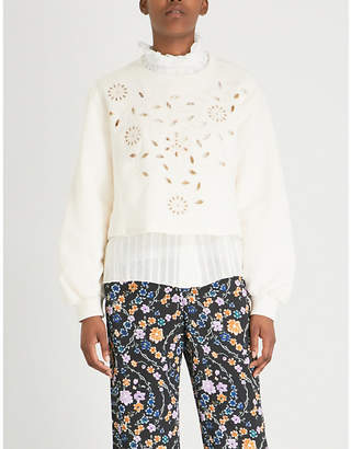 See by Chloe Floral embroidered cotton-jersey sweatshirt