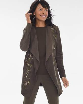 Embroidered Faux-Suede Drape Jacket