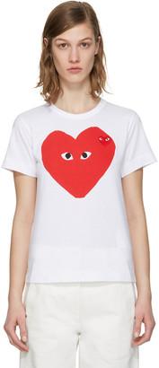 Comme des Garçons Play White Double Heart T-Shirt $125 thestylecure.com