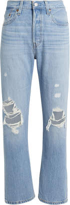 Levi's 501 Original Cropped Patched Jeans