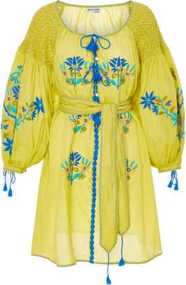 Juliet Dunn Smocked Embroidered Cotton Dress