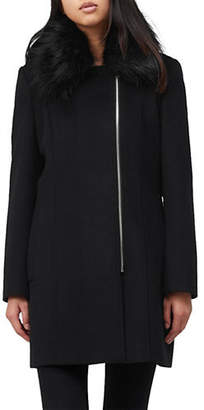 Precis Petite Suzie Faux Fur Collar Wool-Blend Zip Coat