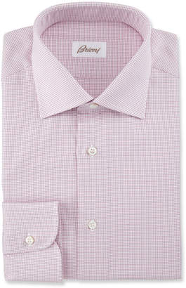 Brioni Textured Grid Dress Shirt, Pink