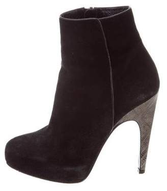 Barbara Bui Lizard-Trimmed Suede Ankle Boots