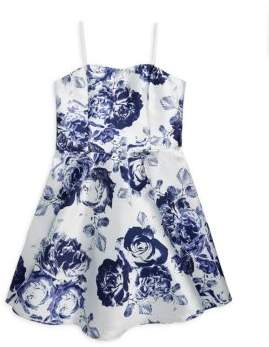 Un Deux Trois Girl's Satin Floral Party Dress