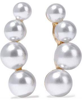Kenneth Jay Lane Gold-Tone Faux Pearl Clip Earrings