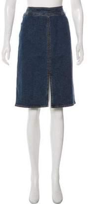 Loro Piana Denim Knee-Length Pencil Skirt