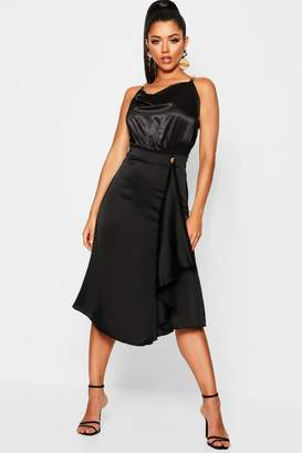 boohoo Waterfall Satin Midi Skirt