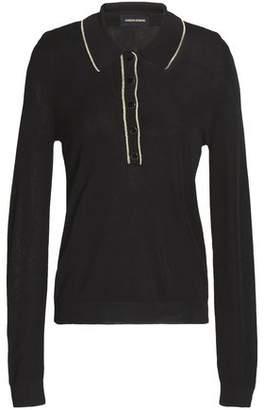Vanessa Seward Metallic-Trimmed Stretch-Knit Polo Shirt