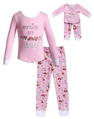 Dollie & Me Doggy Long Sleeves Snug Top and Pajama - 2 -Piece Outfit with Matching Doll Set (Little Girls and Big Girls)