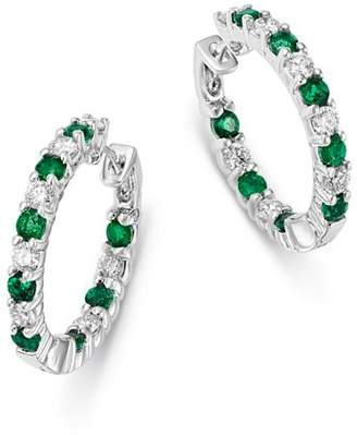 Bloomingdale's Emerald & Diamond Inside Out Hoop Earrings in 14K White Gold - 100% Exclusive