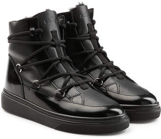 Hogan Platform Ankle Boots with Patent Leather and Faux Shearling