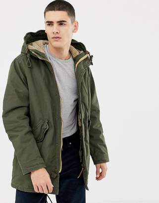 Jack and Jones Originals parka with fleece lined hood and drawstring waist