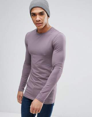 Asos Longline Muscle Fit T-Shirt With Long Sleeves In Lilac