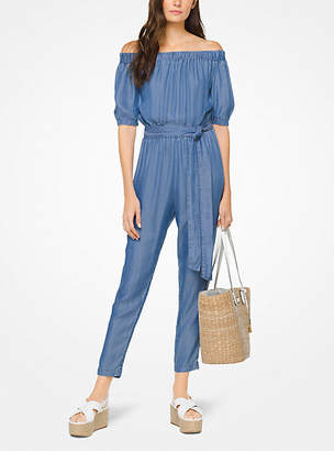 Michael Kors Chambray Off-The-Shoulder Jumpsuit