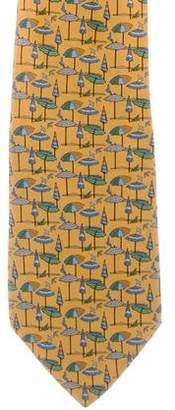 Salvatore Ferragamo Silk Umbrella Print Tie