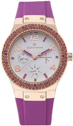 Timothy Stone Women 'Facon' Sporty Chic Crystal Accented Silicone Strap Watch