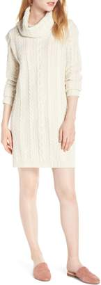 BB Dakota Cowl Neck Cable Sweater Dress