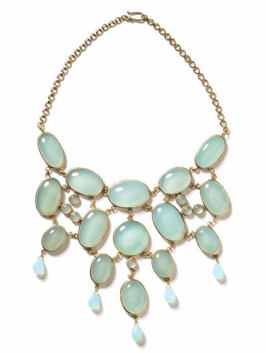 Genuine chalcedony bib necklace